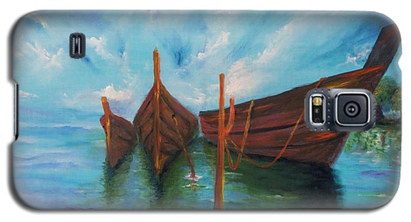 Galaxy S5 Case featuring the painting Docking by Itzhak Richter
