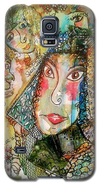 Galaxy S5 Case featuring the mixed media Doe Eyed Girl And Her Spirit Guides by Mimulux patricia no No