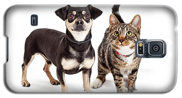 Dog And Cat Standing Looking Up Together Galaxy S5 Case