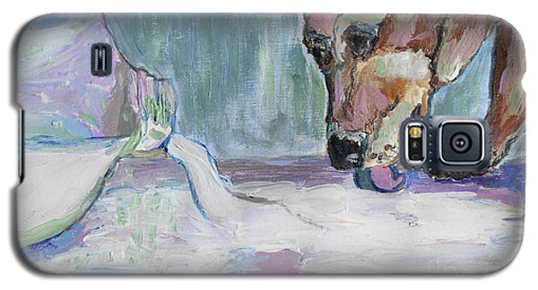 Galaxy S5 Case featuring the photograph Dog And Spilled Milk by Jeanne Forsythe