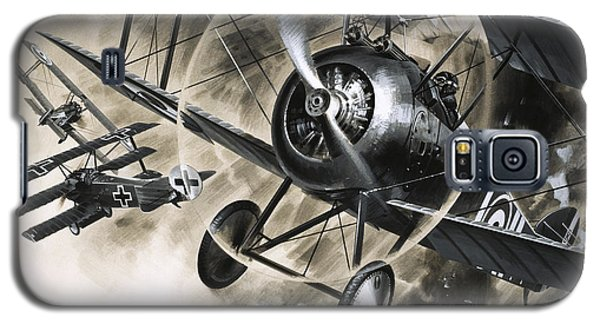 Dog Fight Between British Biplanes And A German Triplane Galaxy S5 Case by Wilf Hardy