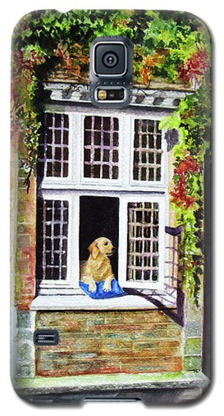 Galaxy S5 Case featuring the painting Dog In The Window by Karen Fleschler