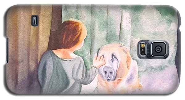 Galaxy S5 Case featuring the painting Dog In The Window by Teresa Beyer