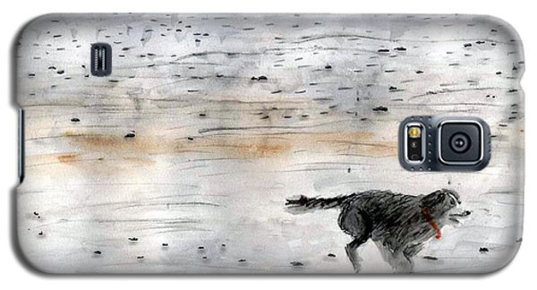 Galaxy S5 Case featuring the painting Dog On Beach by Chriss Pagani