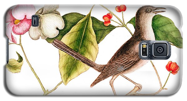 Dogwood  Cornus Florida, And Mocking Bird  Galaxy S5 Case by Mark Catesby