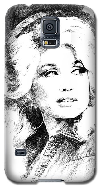 Dolly Parton Bw Portrait Galaxy S5 Case by Mihaela Pater