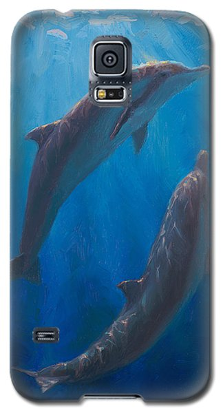 Dolphin Dance - Underwater Whales - Ocean Art - Coastal Decor Galaxy S5 Case