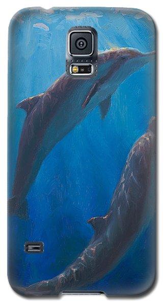 Dolphin Dance - Underwater Whales - Ocean Art - Coastal Decor Galaxy S5 Case