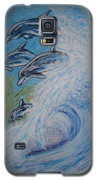 Galaxy S5 Case featuring the painting Dolphins Jumping In The Waves by Kathy Marrs Chandler