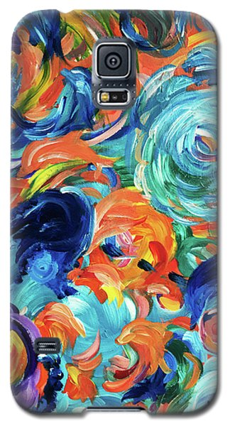 Dolphins Playing In Peonies Galaxy S5 Case
