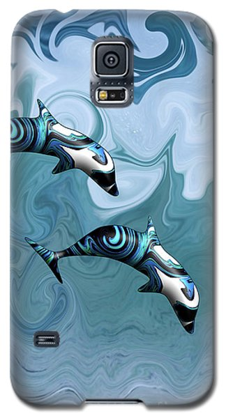 Dolphins Playing In The Waves Galaxy S5 Case