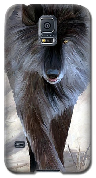Galaxy S5 Case featuring the painting Gray Wolf Treading Carefully by James Shepherd