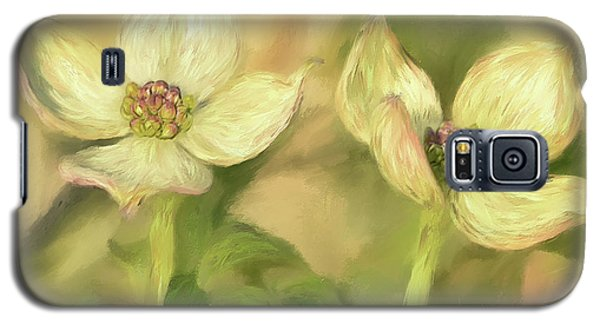 Galaxy S5 Case featuring the digital art Double Dogwood Blossoms In Evening Light by Lois Bryan