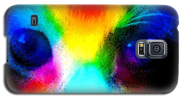 Galaxy S5 Case featuring the painting Double Rainbow Cat by David Lee Thompson