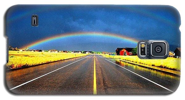 Double Rainbow Over A Road Galaxy S5 Case by Matt Harang