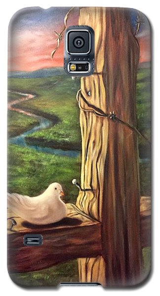 Galaxy S5 Case featuring the painting Dove On A Cross  Paloma  En Una Druz by Randol Burns