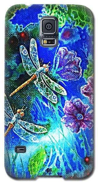 Galaxy S5 Case featuring the painting Dragonflies by Hartmut Jager