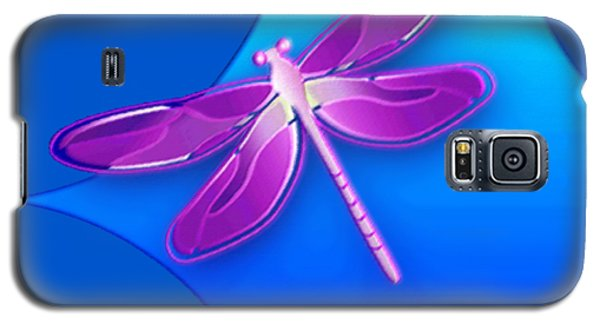 Dragonfly Pink On Blue Galaxy S5 Case