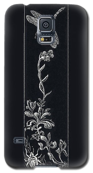 Galaxy S5 Case featuring the drawing Dragonfly With Catspaw And Bug by Dawn Senior-Trask