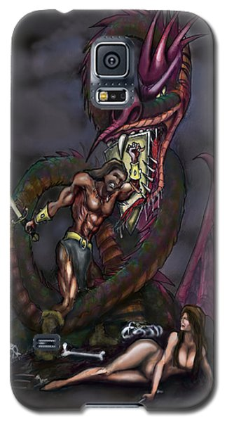 Galaxy S5 Case featuring the painting Dragonslayer by Kevin Middleton