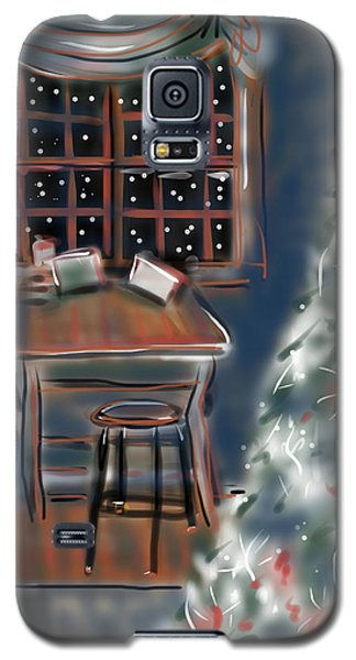 Galaxy S5 Case featuring the painting Drawing Board At Christmas by Jean Pacheco Ravinski