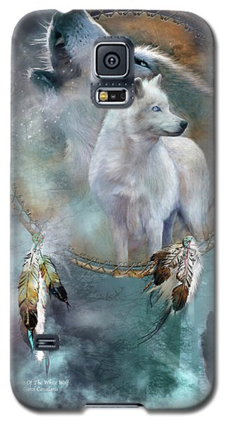Dream Catcher - Spirit Of The White Wolf Galaxy S5 Case by Carol Cavalaris