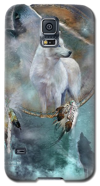 Dream Catcher - Spirit Of The White Wolf Galaxy S5 Case by Carol Cavalaris