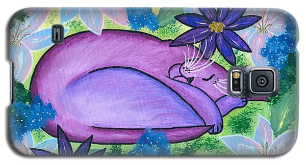 Dreaming Sleeping Purple Cat Galaxy S5 Case by Carrie Hawks