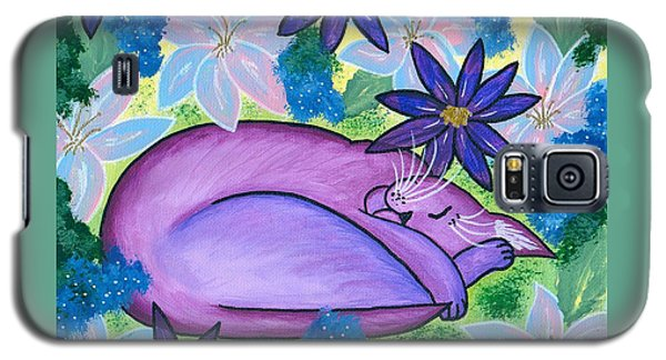 Galaxy S5 Case featuring the painting Dreaming Sleeping Purple Cat by Carrie Hawks