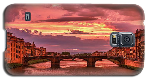Saint Trinity Bridge From Ponte Vecchio At Red Sunset In Florence, Italy Galaxy S5 Case