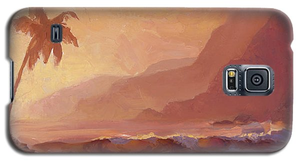Galaxy S5 Case featuring the painting Dreams Of Hawaii - Tropical Beach Sunset Paradise Landscape Painting by Karen Whitworth