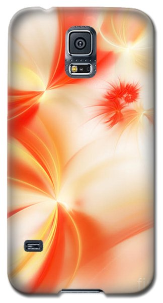 Galaxy S5 Case featuring the digital art Dreamy Orange And Creamy Abstract by Andee Design