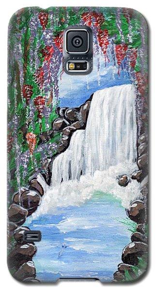 Galaxy S5 Case featuring the painting Dreamy Waterfall by Saranya Haridasan