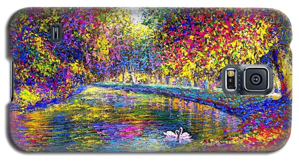 Galaxy S5 Case featuring the painting Drifting Beauties, Swans, Colorful Modern Impressionism by Jane Small