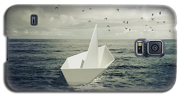 Galaxy S5 Case featuring the photograph Drifting Paper Boat by Carlos Caetano
