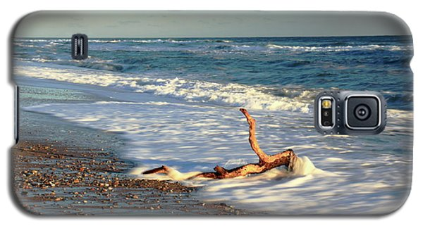 Galaxy S5 Case featuring the photograph Driftwood In The Surf by Roupen  Baker
