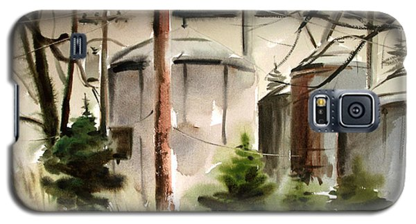 Galaxy S5 Case featuring the painting Drizzle Mists Midst Furry Pines Plein Air by Charlie Spear