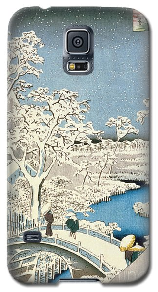 Drum Galaxy S5 Case - Drum Bridge And Setting Sun Hill At Meguro by Hiroshige