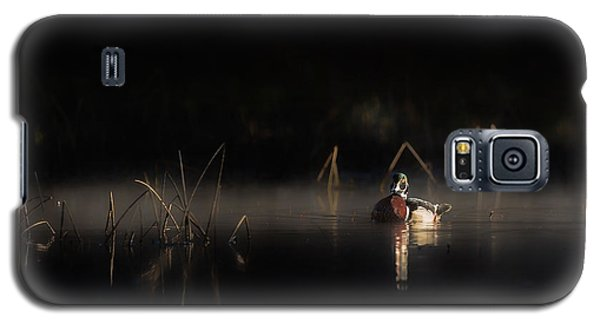 Galaxy S5 Case featuring the photograph Duck Of The Morning Mist by Bill Wakeley