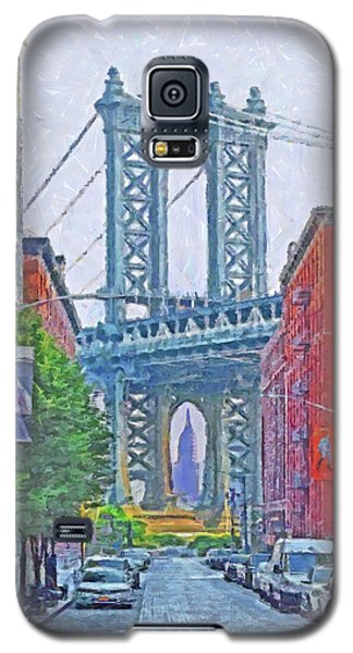 Galaxy S5 Case featuring the digital art Dumbo -  Down Under The Manhattan Bridge Overpass by Digital Photographic Arts