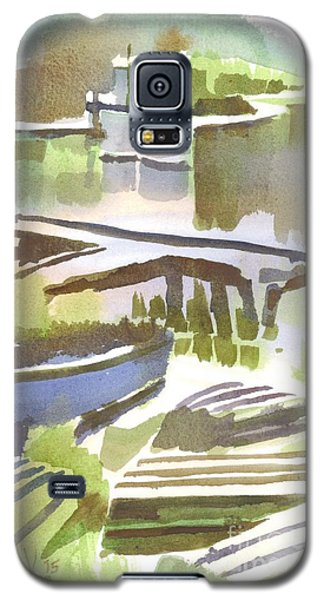 Galaxy S5 Case featuring the painting Dusk At The Boat Dock by Kip DeVore