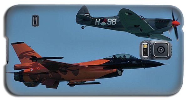 Galaxy S5 Case featuring the photograph Dutch F-16 And Spitfire by Tim Beach