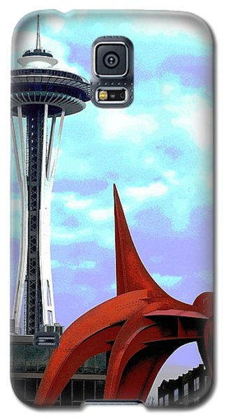 Galaxy S5 Case featuring the photograph Eagle And Space Needle Seattle by Yulia Kazansky
