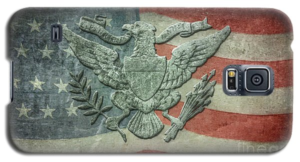 Galaxy S5 Case featuring the digital art Eagle On American Flag by Randy Steele