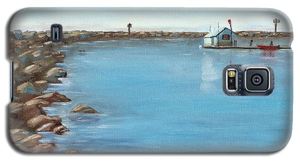 Galaxy S5 Case featuring the painting Early Morning At Dana Point by Mary Scott
