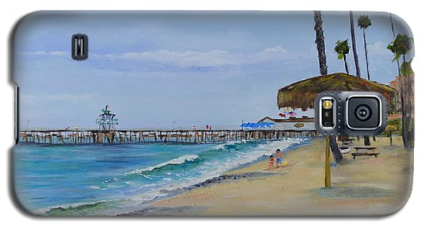 Galaxy S5 Case featuring the painting Early Morning On The Beach by Mary Scott