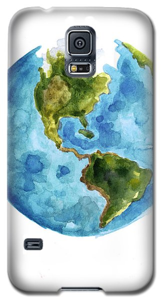 Earth America Watercolor Poster Galaxy S5 Case by Joanna Szmerdt
