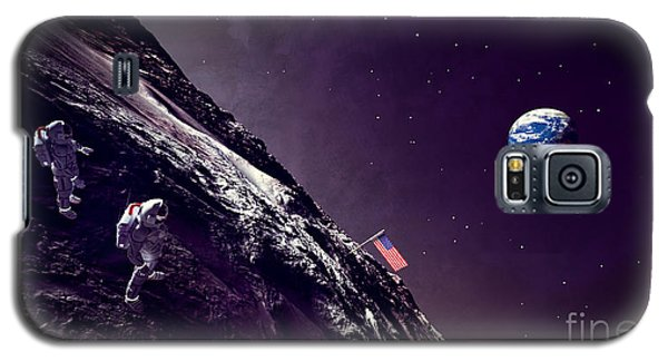 Galaxy S5 Case featuring the digital art Earth Rise On The Moon by Methune Hively