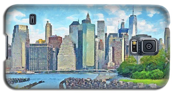 Galaxy S5 Case featuring the digital art East River Pilings And New York City by Digital Photographic Arts