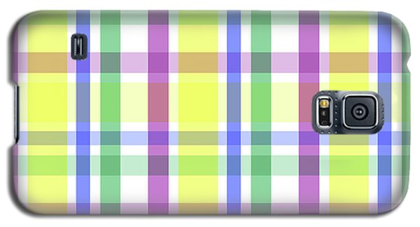 Galaxy S5 Case featuring the digital art Easter Pastel Plaid Striped Pattern by Shelley Neff